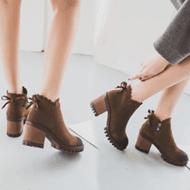 秋冬新款粗跟靴子高跟女鞋