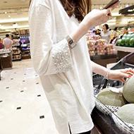 白色宽松大码七分袖纯棉T恤