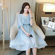 韩版显瘦修身雪纺连衣裙