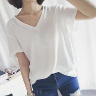 纯色百搭V领日韩T恤