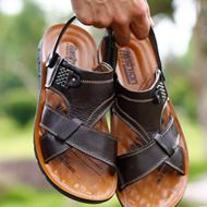 夏季男士真皮凉鞋