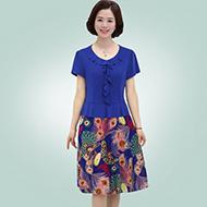 中老年夏装新款短袖中长款连衣裙
