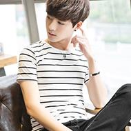 韩版圆领条纹T恤