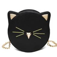 链条单肩猫咪小圆包