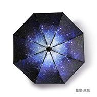 晴雨两用星空樱花黑胶防晒伞