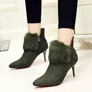 冬季欧美尖头兔毛加绒踝靴