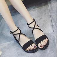 韩版低跟一字扣平底凉鞋