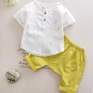 儿童夏季棉麻短袖+裤子两件套装