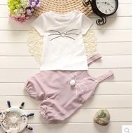 男女童夏装短袖+背带裤套装