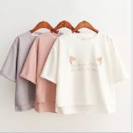 宽松刺绣猫耳朵纯色T恤