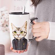 创意个性猫咪马克杯带盖勺