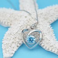 桑玛 S925银心形项链 海洋之心