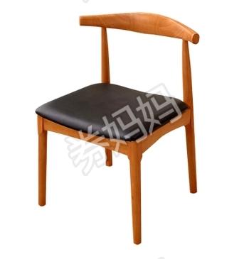 木巴 简约实木餐椅牛角椅