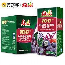 众果 纯果汁 玫瑰香紫葡萄混合果汁 便携装 1L×6盒