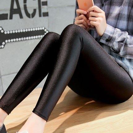 百搭黑色光泽显瘦打底裤