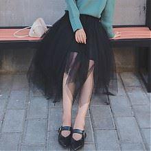 可乐衣不规则网纱裙蓬蓬裙