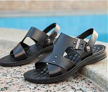 红蜻蜓男士夏季真皮凉鞋