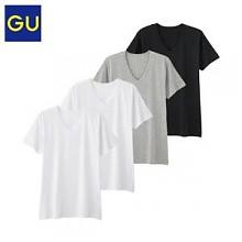 GU男子夏季V领T恤 4件装