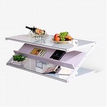 雅美乐现代简约Z型钢化玻璃茶几桌100*50cm
