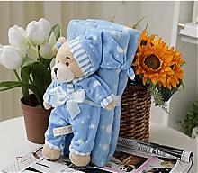 雨莲露恩爱睡衣小熊抱毯空调被380g