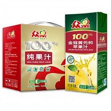 众果 金冠黄元帅苹果汁 礼品装 1L*4盒