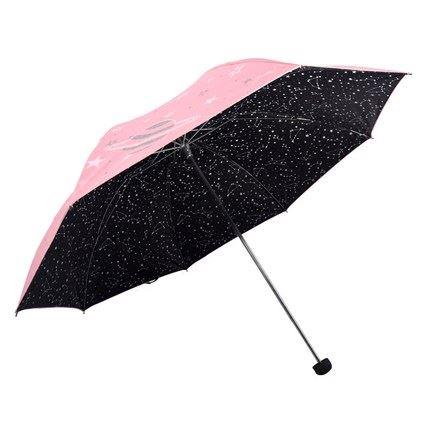 天堂晴雨两用黑胶三折伞