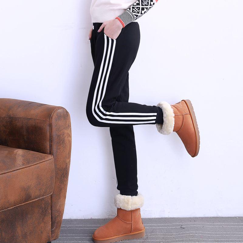 三道杠小脚加绒休闲运动裤